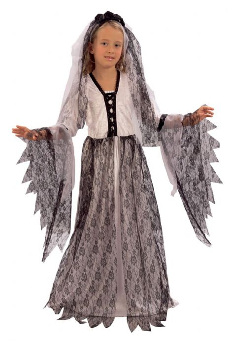 Girls Corpse Bride Costume Dead Morgue Grave Fancy Dress Outfit